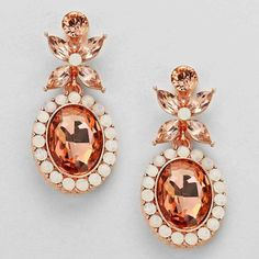 Floral Oval Rose Gold Opal and Peach Rhinestone Earrings