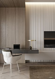 modern interior design Family home with marble decor, textured wall panels, wood panelling and modern furniture. Featuring an adjoined kids' room design with dual level play spac