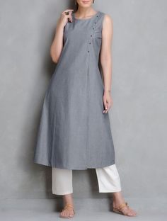 The Wooden Closet - Yarn Dyed Pin striped Kurta with an open front placket. Accentuated with Metal buttons.