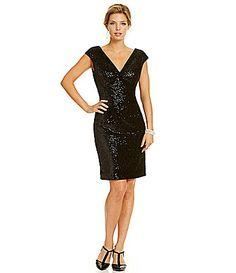 Marina Sequined CapSleeve Velvet Dress #Dillards