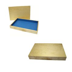 Maple Sand Tray & Lid: This Sand Tray is handcrafted in Maple Wood. The lid is solid Baltic Birch. The blue paint depicts sky and water and is an exterior enamel paint for durability. The sandtray measures 19.5 by 28.5 by 3.5 inches (inside dimensions are 19 x 28 x 3 inches), which is the standard established by Dora Kalff. The size is based on what the individual can see without turning one's head. This way, the sandtray encompasses their field of vision. It becomes the world. $209.95