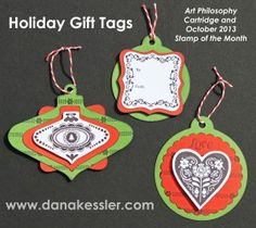 Holiday Gift Tags and Christmas Ornaments using the October SOTM Scandinavian Wishes and the Art Philosopy Cricut Cartridge from CTMH.