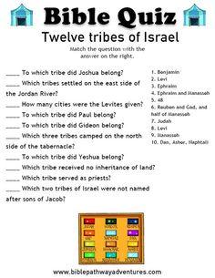 Printable bible quiz - Twelve tribes of Israel Sunday School Activities, Bible Activities, Sunday School Lessons, Bible Games, Bible Trivia, Bible Study For Kids, Bible Lessons For Kids, Kids Bible, Bible School Crafts