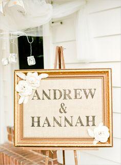 burlap stamped wedding sign