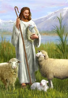 """""""Jesus, the Shepherd"""" - art by Marcello Corti Pictures Of Jesus Christ, Religious Pictures, Bible Pictures, Religious Art, Lord Is My Shepherd, The Good Shepherd, Christian Images, Christian Art, Première Communion"""