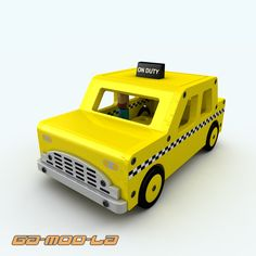 3d wooden toy taxi