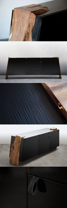 SENTIENT Luxor Credenza www.sentientfurni… A high gloss black credenza with leather pulls. The angled sides are unusual in themselves but to add to that idea we decided to attach live edge slabs to outside of the carcass. The final composition is a delicat