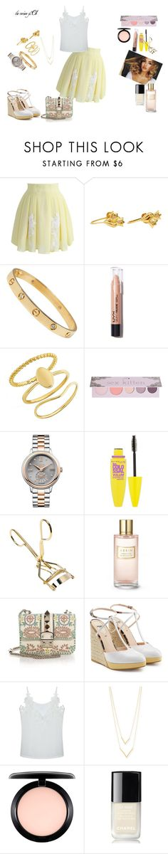 """""""you look percfect with yellow"""" by lareine-mina ❤ liked on Polyvore featuring Chicwish, NYX, BaubleBar, 100% Pure, Vivienne Westwood, Maybelline, Estée Lauder, Valentino, Fendi and Jennifer Zeuner"""