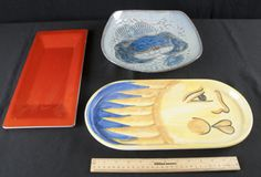 LOBSTER POTTERY SERVING PLATE -- RECTANGLE SHAPED ORANGE SERVING DISH - OVAL-SHAPED CERAMIC DISH WITH PAINTED SUN