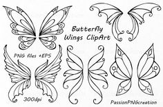 Butterfly Wings Clipart Doodle wings clip art Hand drawn