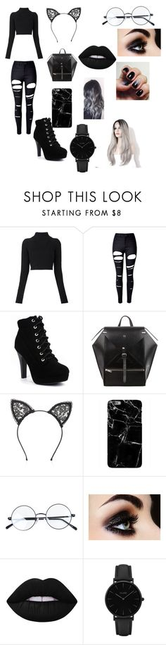"""""""I'm not emo I swear 😉"""" by liyaray ❤ liked on Polyvore featuring Balmain, WithChic, Fleur du Mal, Lime Crime and CLUSE"""