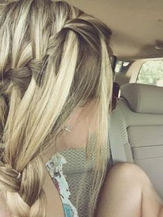 waterfall braid on the top, braided into a regular braid on the shoulder. LOVE this