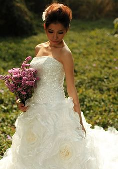 Cathedra Train Dropped Waist Floor Length Wedding Dress with Handmade Flowers,wedding dresses Cute Wedding Dress, Fall Wedding Dresses, Colored Wedding Dresses, Wedding Looks, One Shoulder Wedding Dress, Dream Wedding, Wedding Day, Wedding Stuff, Wedding Things