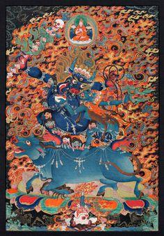 Yama Dharmaraja - Tibet - 18th Century Disptemper on cotton