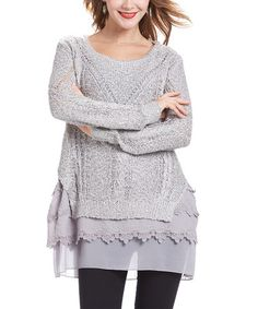 Another great find on #zulily! Gray Crochet Layered Lace-Hem Tunic #zulilyfinds