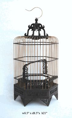 Chinese Bamboo Rosewood Hexagon Decor Birdcage - Golden Lotus Antiques $490