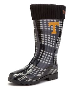 Loving this Tennessee Volunteers Black & White Rain Boot - Women on White Rain Boots, Girls Rain Boots, Tn Vols, Tennessee Girls, Tennessee Football, University Of Tennessee, Tennessee Volunteers, Orange, Rubber Rain Boots