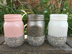 Set of 3 Glitter Mason Jars - Perfect for Makeup Brushes, Toothbrush, Wedding Centerpiece, Baby Shower, Bridal Shower, Pink, Silver, White by PrettySimplyStudio on Etsy https://www.etsy.com/listing/239850133/set-of-3-glitter-mason-jars-perfect-for