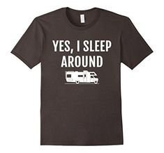 camping gifts funny - Mens Sleep Around RV T Shirt, Funny Camping Camper Vacation Gift XL Asphalt * Check out the image by visiting the link. (This is an affiliate link) #CampingGifts
