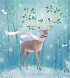 by Sarah Summers – Winterbilder Woodland Christmas, Magical Christmas, Christmas Deer, Vintage Christmas Cards, Beautiful Christmas, Winter Christmas, Merry Christmas, Xmas, Illustration Noel