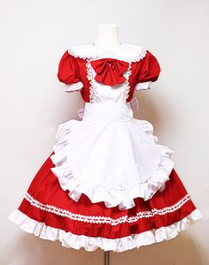 Red  Alice Dress- Halloween animation cosplay dress with Lace hair band-Custom made order. $85.00, via Etsy.