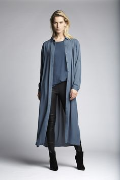 Adele dress with the blue Corlette top and a black Lexis stretch leather pants.  Fashion // clothing // woman // inspiration // www.dante6.com