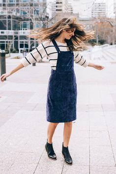 The Olivia Corduroy Jumper Dress in Indigo