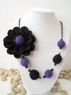 Black and Plum Felt Flower Necklace Felt by HappyPiecesJewelry, $25.00