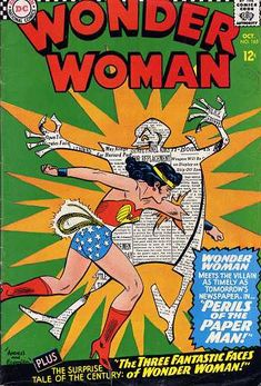 Wonder Woman OCtober cover by Ross Andru and Mike Esposito. Do you think that the Paperman's vicious paper cuts can slow down Wonder Woman? Marvel Comics Superheroes, Star Comics, Old Comics, Vintage Comics, Vintage Books, Marvel Dc, Dc Comic Books, Comic Book Covers, Comic Book Heroes