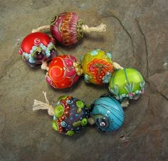 Bollywood Chunkies Akanksha Lampwork Bead Set von flamekeeper
