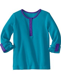 Too bad it will be many months before Austin is cool enough to wear this thermal henley with the right amount of detail to look cute without being too girly!  Love the blue/purple combo.  Hanna Andersson, sizes baby-12.