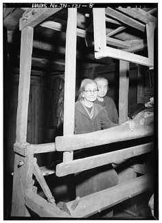 8.  MARGARET (foreground) AND LOUISA WALKER, AT THE LOOM - Walker Family Farm (General views), Gatlinburg, Sevier County, TN