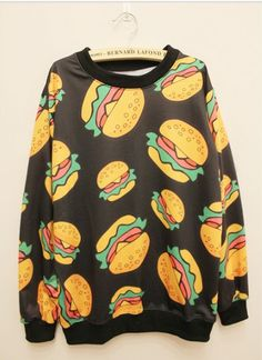 Cute sweaters jumper cartoon hamburger women-------- Ulgy sweater day!!!