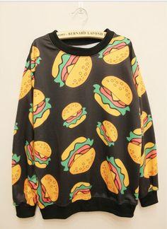 Cute sweaters jumper cartoon hamburger women-------- Ulgy sweater day!!!