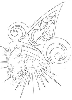 Disney Mickey Mouse Fantasia Coloring Page Embroidery Pattern Line Drawing