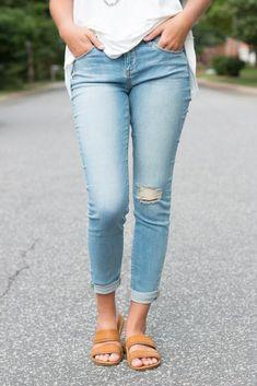 63182ab9ed10 Fallin In Love Distressed Boyfriend Jeans - Light Denim Fashion Shoes