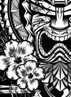 Tiki on behance polynesian tattoos иллюстрации, маски Tiki Tattoo, Hawaiianisches Tattoo, Samoan Tattoo, Polynesian Art, Polynesian Tattoo Designs, Hawaiian Tiki, Hawaiian Tribal, Blue Hawaiian, Skull Tattoos
