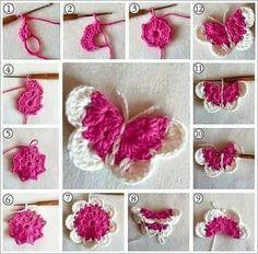 Beautiful Amigurumi Doll Crochet Pattern Ideas and Images Part amigurumi free patterns; amigurumi for beginners; Crochet Butterfly Free Pattern, Crochet Flower Patterns, Crochet Motif, Crochet Flowers, Crochet Stitches, Crochet Appliques, Crochet Deer, Cute Crochet, Crochet Crafts