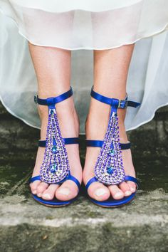 "Sparkly ""Something Blue"" wedding shoes: http://www.stylemepretty.com/little-black-book-blog/2014/09/22/beautiful-backyard-cleveland-wedding/ | Photography: Aster & Olive - http://www.asterandolivephoto.com/"