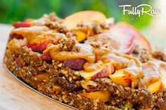 FULLYRAW Peach Cobbler: http://www.youtube.com/watch?v=HlpbYNpB0L4