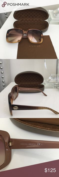 Gucci brown gradient sunglasses Authentic Gucci sunglasses in brown gradient. gg 3574 s w8noh. Beautiful brown to gold gradient patterns. Comfortable fit, fairly light weight. Comes with original Gucci hard carrying case and cleaning cloth. In good condition. Gucci Accessories Glasses