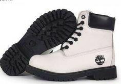 Womens Timberland Boots 6 Inch White Black Sku:timberland24037