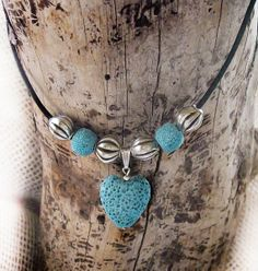 Items similar to Blue Heart Lava Pendant, Blue Lava Stone Necklace, Heart Lava Necklace, Leather Beaded Necklace on Etsy Silverware Jewelry, Diy Jewelry, Jewelry Making, Unique Jewelry, Diffuser Jewelry, Diffuser Necklace, Turquoise Necklace, Beaded Necklace, Stone Necklace