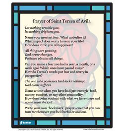Download a reflection of the Prayer of Saint Teresa of Avila, and use it for personal reflection or with your family or students.  #Catholic #Saints #Prayer