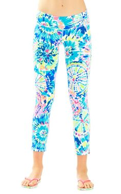GOODBYE boring black leggings. HELLO happy, vibrant printed leggings. These cropped leggings are our new go-to for all things Sunday: brunch, walks along the beach, and maybe the occasional work out.                                         UPF 50  Protection Because We Love The Sun.  UPF = Ultraviolet Protection Factor (It'S Always A Good Idea To Double Dip...AKA, Please Wear YourFavorite SPF Lotion As Well!).