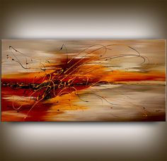 "XXL Original Large ABSTRACT PAINTING Red Modern Painting Artwork Canvas Art Gallery Wall Art Modern Decor 48""x24"" Abstract Paintings Nandita"