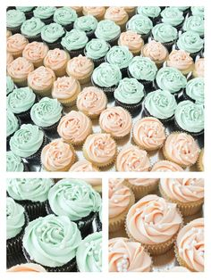 Peach and mint wedding cupcakes
