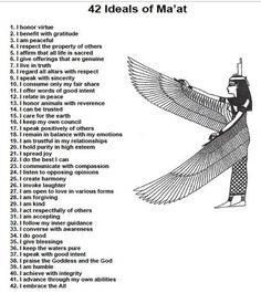 42 Laws Of Maat | The 42 Laws of the Goddess Maat --- in order to learn and be one who teaches