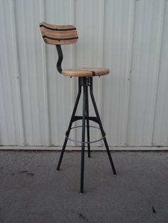 Wood and Steel Bar Stool - Adjustable Drafting Style on Etsy, $265.00