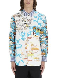 Comme Des GarÇons Shirt Comic Print Shirt In Blue Comme Des Garçons Shirt, Comme Des Garcons, Collar And Cuff, Kazakhstan, Printed Shirts, Men's Shirts, Graphic, Blue And White, Man Shop